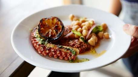 Charred octopus with lemon and chickpeas at Lost