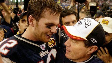 Patriots MVP quarterback Tom Brad and head coach