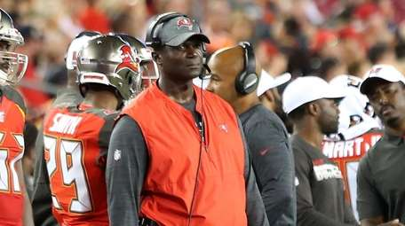 Defensive Coordinator Todd Bowles of the Bucs watches