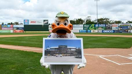 Quacker Jack, Long Island Ducks Mascot, shows a