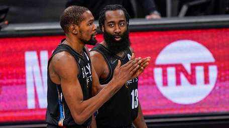 Nets forward Kevin Durant and guard James Harden