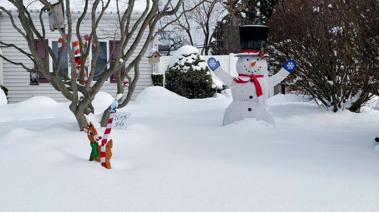 Christmas decorations on display at a Bethpage home