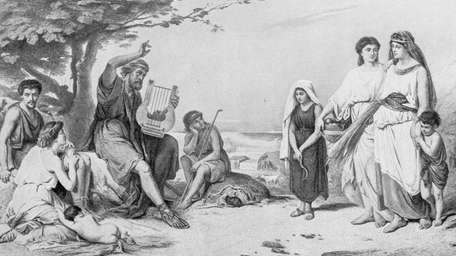 Antique illustration of Homer reciting the Iliad. We