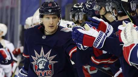 The Rangers' Ryan Strome is congratulated for his