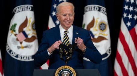 President Joe Biden arrives to deliver remarks to