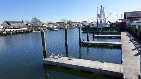 A waterfront scene along the Freeport Nautical Mile