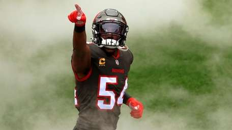 Lavonte David of the Tampa Bay Buccaneers takes