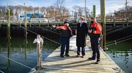 Senior Harbormaster Fred Uvena, Huntington Supervisor Chad Lupinacci