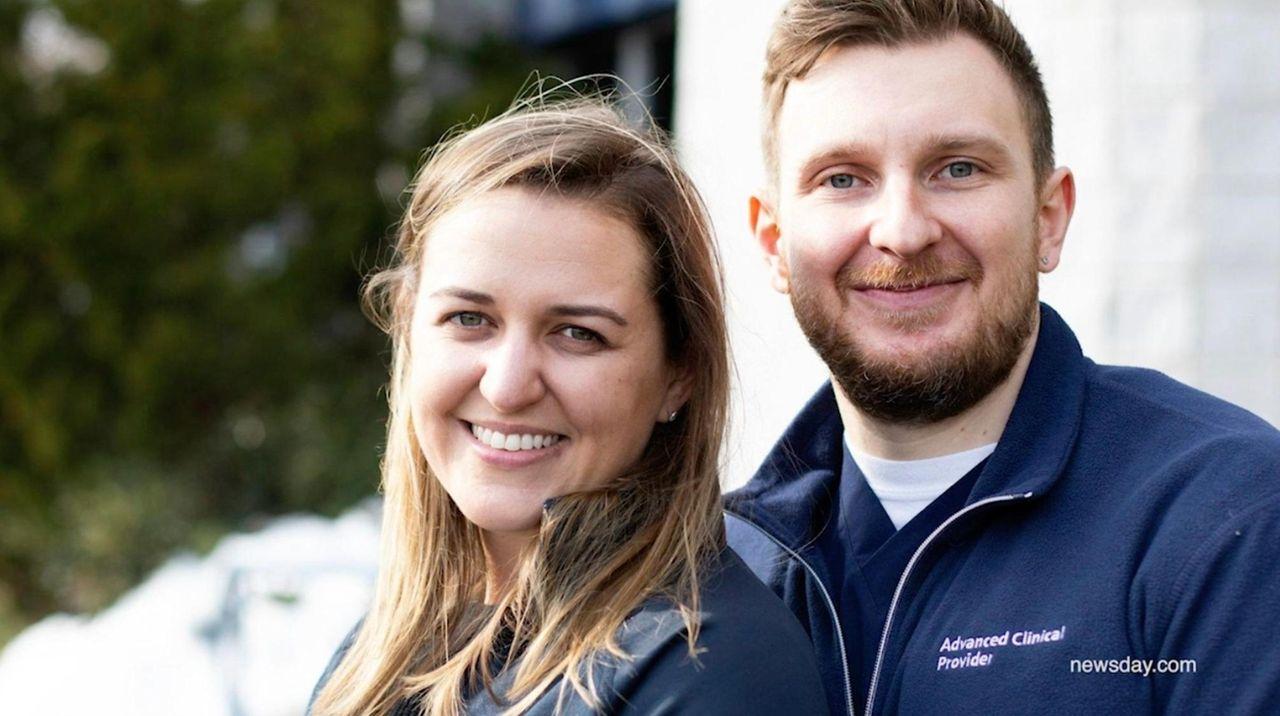 Health care workers and newlyweds Maciej Mazurkiewicz and
