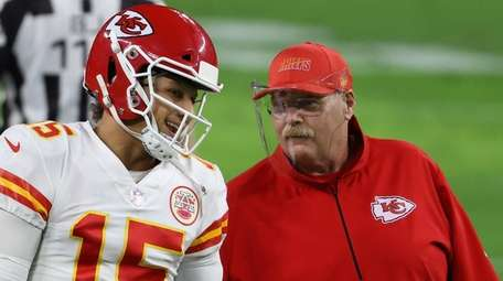 Patrick Mahomes and Andy Reid, shown here Nov.