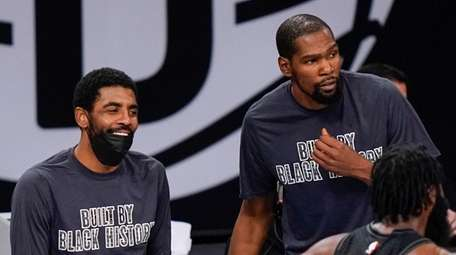 Nets guard Kyrie Irving and forward Kevin Durant