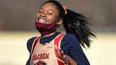 Ariann Robinson of Sachem East competes in the