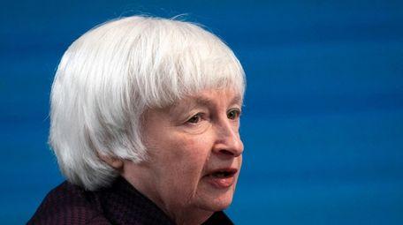 Treasury Secretary Janet Yellen speaks during a virtual