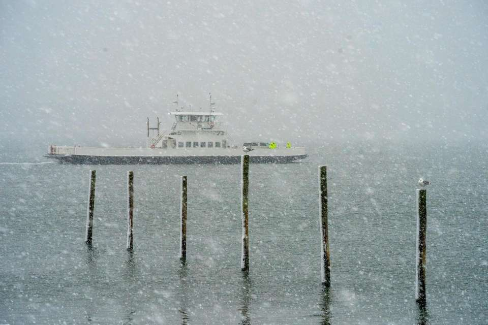 The North Ferry crosses on the Peconic Bay
