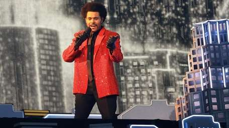 The Weeknd performs during the Pepsi Super Bowl