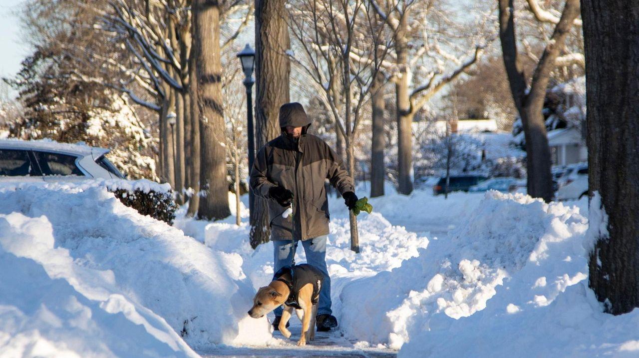 A man walks his dog down a snow