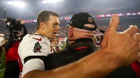 Tampa Bay Buccaneers quarterback Tom Brady celebrates with