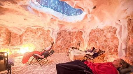 Customers relax at the Montauk Salt Cave in