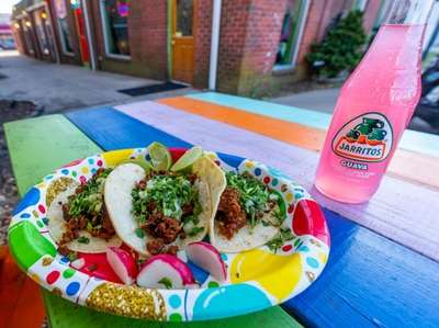 chorizo classic tacos at Taco Bout! it in
