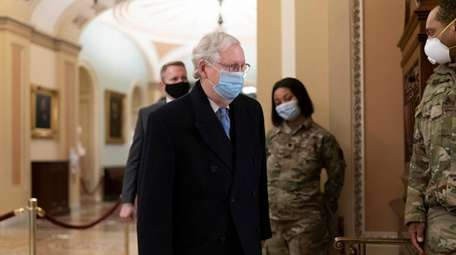 Senate Minority Leader Mitch McConnell, R-Ky., arrives for