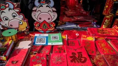 Red envelopes are used to gift money during