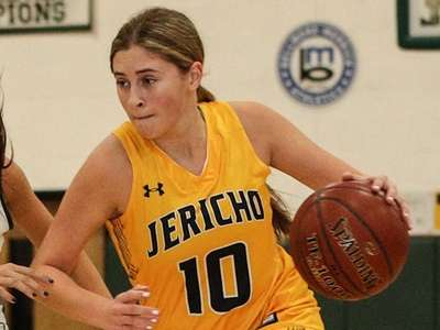 Jade Stoler of Jericho drives to the basket