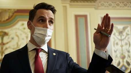 Sen. Josh Hawley, a Republican from Missouri, wears