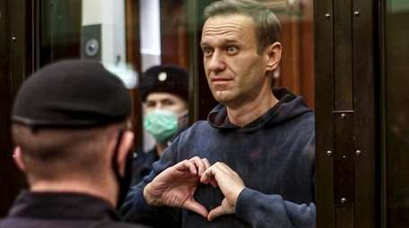 In a photo from video, Russian opposition leader