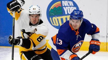Mathew Barzal of the New York Islanders skates