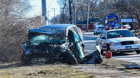 The scene of a triple fatal car crash