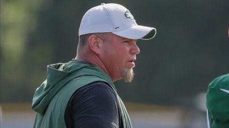 Jets special teams coordinator Brant Boyer runs the
