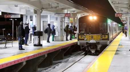 A Long Island Rail Road train comes into