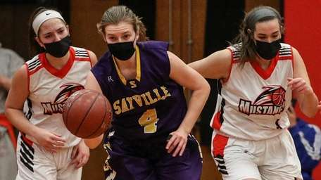 Sayville's Hannah Blaskiewicz gets the steal and the