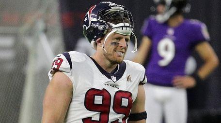 J.J. Watt of the Texans looks on against