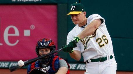 Matt Chapman of the Oakland Athletics hits during