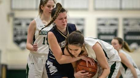 Sophia Yearwood of Northport fights for the ball
