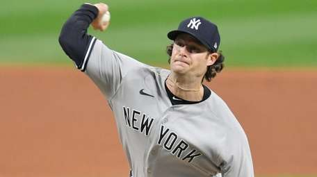 Yankees starting pitcher Gerrit Cole pitches during the