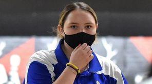 Kellie Sandas of Kellenberg knocks down pins during