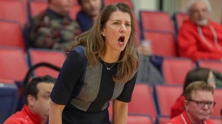 Stony Brook head coach Caroline McCombs directs her