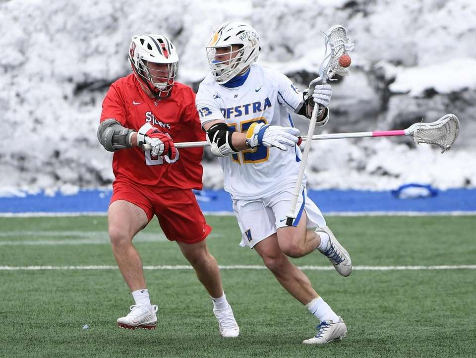 Hofstra attacker Ryan Tierney controls the ball against