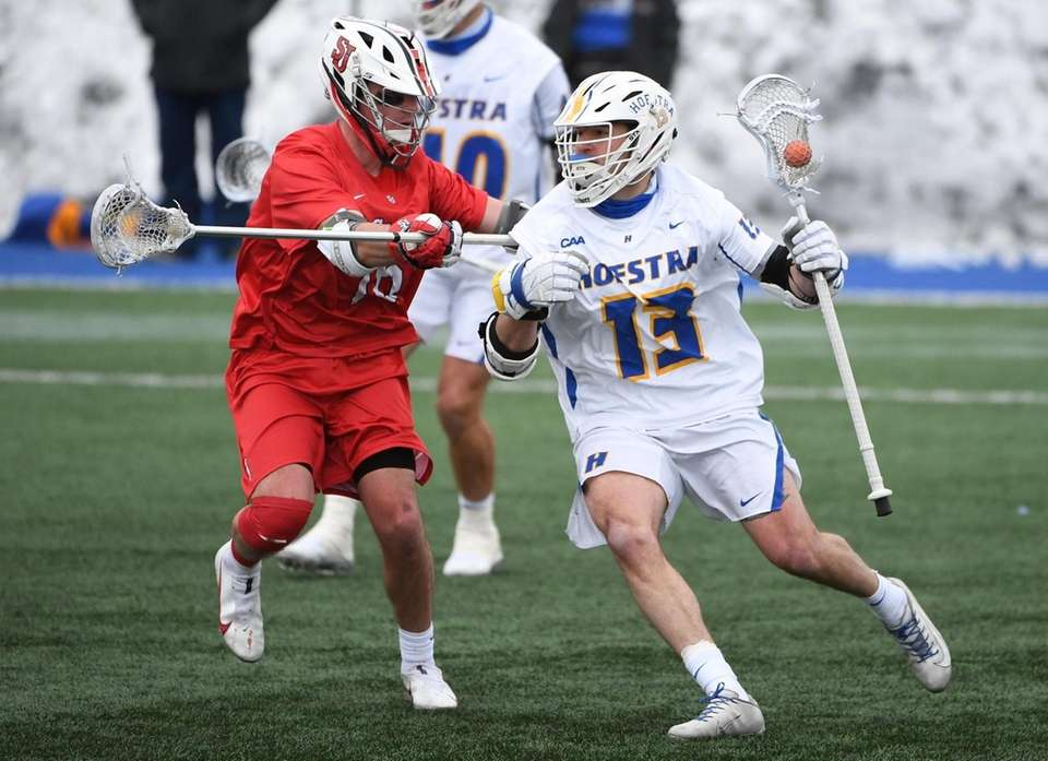 Hofstra attacker Ryan Tierney drives to the goal