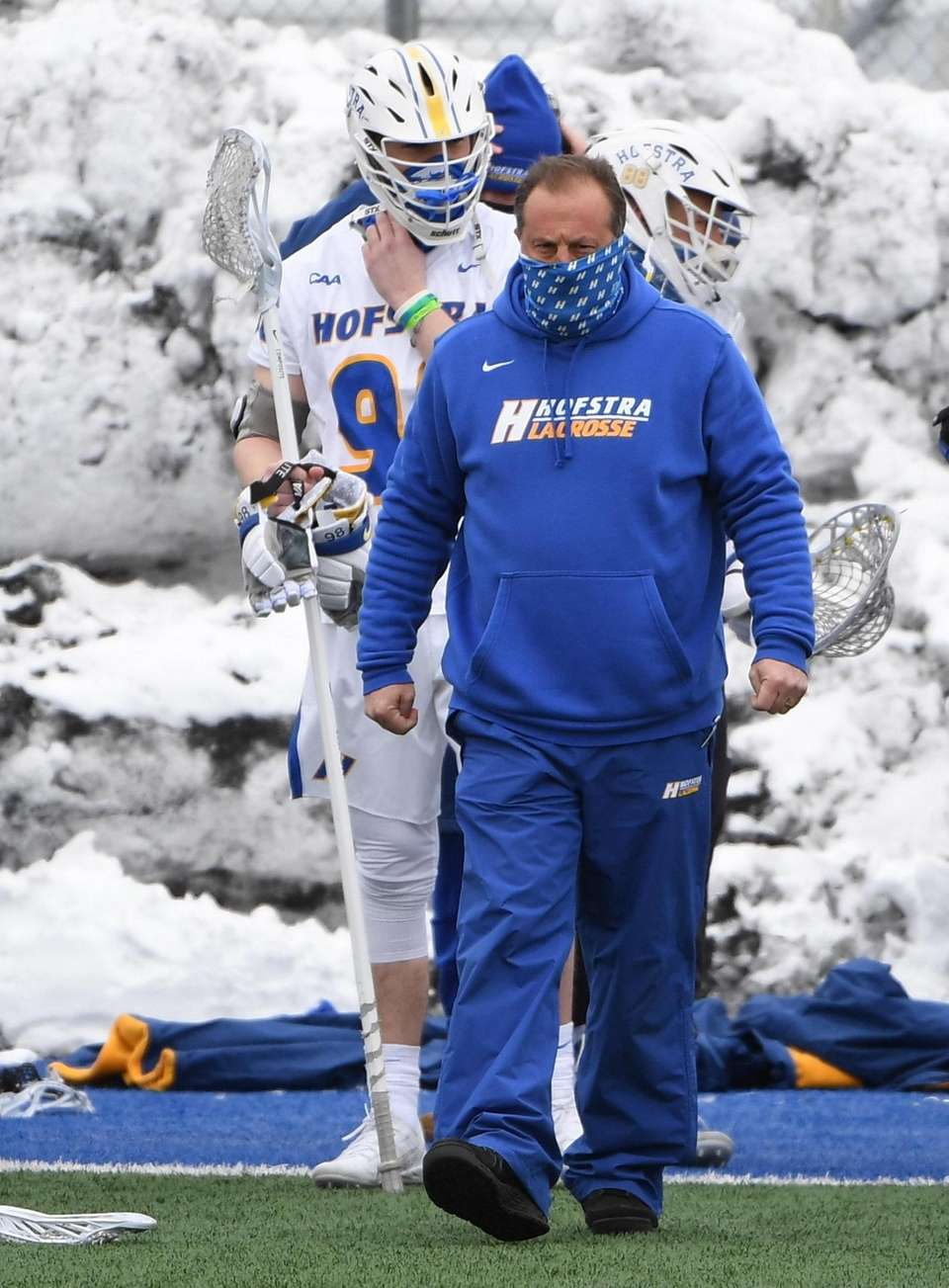 Hofstra head coach Seth Tierney looks on during