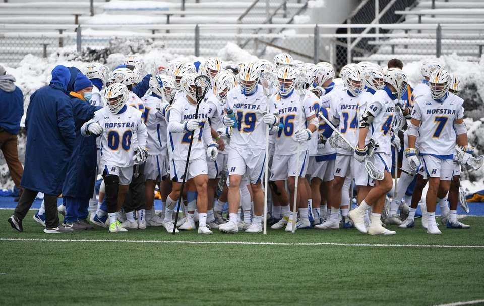 Hofstra players take the field against St. John's