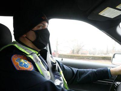 Nassau County police officer Omar Galan on patrol