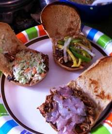 "Vegan ""pulled pork"" sandwiches at Heirloom Vegan Eatery"