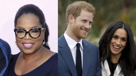 Oprah Winfrey, left, interviews Prince Harry and his