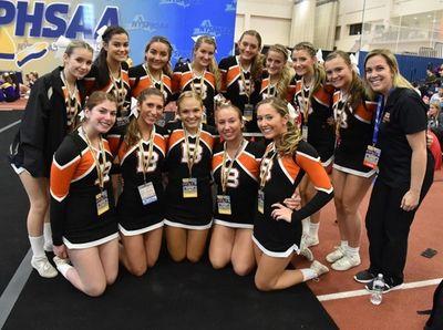 The Babylon cheerleading team posing for a photo