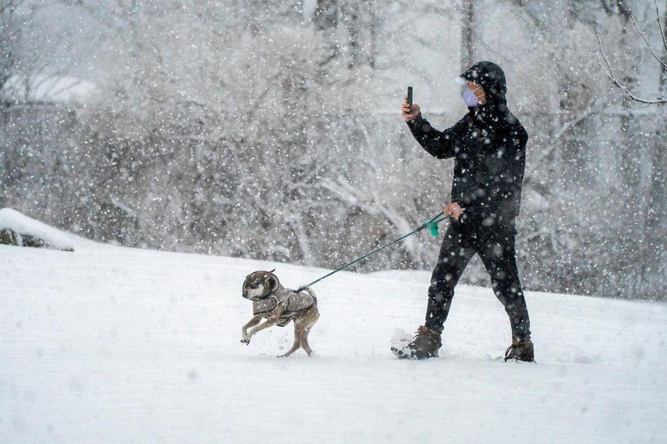 A man and his dog walk through Mitchell