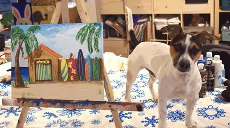 Dewey poses for the camera during a painting