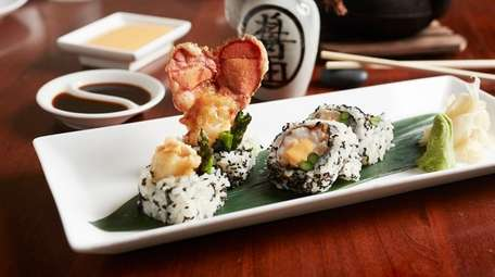 The Americana roll with Maine lobster tail tempura,